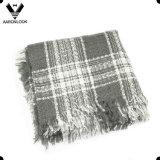 Шарф квадрата Knit края зимы повелительниц акриловым сплетенный краем