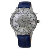 Reloj cristalino de las mujeres de la manera con la venda de cuero