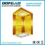 Elevador do passageiro do DAS com o espelho dourado luxuoso que grava o aço inoxidável