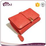 卸し売り安いキャンデーカラー財布、若い女性のための高品質PUベルトクリップ札入れ