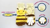 Chaussettes de tricotage chaudes d'animal familier d'anti dérapage d'abeille de miel de dessin animé