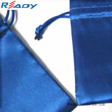 Kundenspezifischer blauer Beid-Seite Satindrawstring-Beutel für Schmucksache-Geschenk