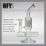 Mão de vidro de Hfy tubulação de água de fumo de vidro fundida da árvore de 8 braços