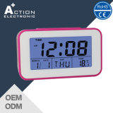달력과 온도를 가진 디자인 디지털 귀여운 경보 탁상용 시계