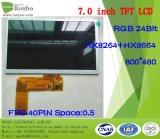 """7.0 """" 800*480 RGB 24bit TFT LCD Bildschirmanzeige, IS: Hx8264+Hx8664, FPC 40pin für Position, Türklingel, medizinisch, Autos"""