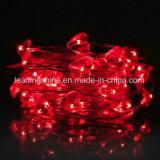Chaîne de caractères rouge de quirlande électrique d'en cuivre de coeur