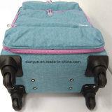 Sacchetto durevole della cassa del carrello del tessuto della grinza della rondella delle signore di formato su ordinazione della fabbrica dell'OEM, valigia casuale dei bagagli di corsa con le rotelle