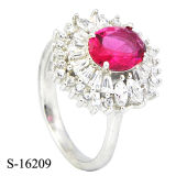 Zafiro azul redondo anillos de diamante de la flor de la manera de los diseños de los anillos de la CZ