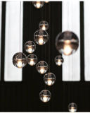 Lampadario a bracci Pendant di vetro della pioggia della meteora dell'indicatore luminoso LED della sfera LED della bolla di cristallo moderna dell'ingresso
