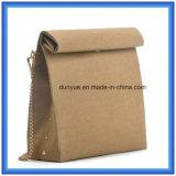Modischer kundenspezifischer spezieller Packpapier-beiläufiger Kurier-Beutel, heißer Verkaufs-wasserdichter Packpapier-kaufender einzelner Schulter-Beutel mit goldenem Farben-Metallriemen