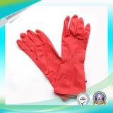 Haushalt, der lang roter Latex-wasserdichte Handschuhe mit SGS genehmigt bearbeitet