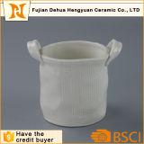 ハンドルのプラント鍋との陶磁器のバスケットデザイン