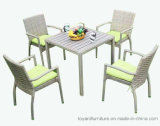 Patio Rattan Wicker Grey Polywood Outdoor Dining Table and Chairs Outdoor Garden Furniture