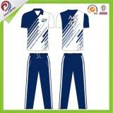 Jersey blancs bleus de cricket de polyester de qualité sublimés par coutume