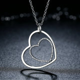 Clássico 925 Sterling Silver Clear Heart to Heart Pendant Necklace