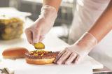 Перчатки винила порошка контакта еды свободно ясные