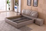 Самомоднейшей домашней кровать обитая кожей 9557# конструкции мебели классицистической мягкой