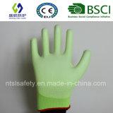 Дневная перчатка безопасности работы зеленого цвета покрынная PU (SL-PU201G)