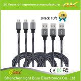 Nylon de alta velocidade cabo trançado da sincronização e da carga do micro B do USB 2.0