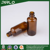 50ml botellas de vidrio de color ámbar con Tamper Evidente y blanco tapa de tornillo