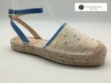 여자 Espadrille Flats Shoes 파란 Strape 베이지색 크로셰 뜨개질 Espadrilles 숙녀