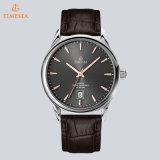 Uhr-echtes Leder-Edelstahl-beiläufige schwarzes Gesichts-Quarz-Uhr 72732 der Form-Männer
