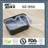 950ml는 안 쟁반을%s 가진 까만 백색 처분할 수 있는 플라스틱 음식 콘테이너를 두껍게 한다