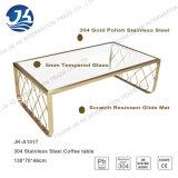 Edelstahl-Metallkaffeetisch des Gold304 mit ausgeglichenem Glas
