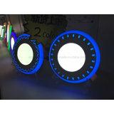 Le bord et le point bleu-clair de panneau de DEL ont encastré monté autour du panneau 6+2 W de deux couleurs