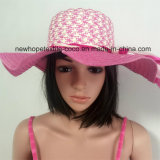100% de paja sombrero de papel, moda Floppy Falbala del estilo con la decoración de la cinta