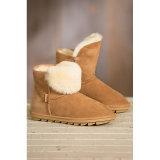 毛皮の女性が付いているShoes流行の羊皮の雪のブート