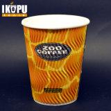 tazas de papel del café caliente de la ondulación 12oz