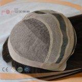 Peluca larga superior de seda atada mano completa del pelo del negro oscuro de la base del cordón