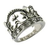 crown Ring CZ Gleu 임금 돌 외과 강철 보석