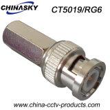Мыжская штепсельная вилка CCTV BNC закрутки для коаксиального кабеля RG6 (CT5019/RG6)