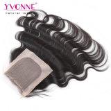 100%のブラジルの人間の毛髪の絹の基礎閉鎖