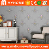 Papel pintado decorativo del vinilo del dormitorio clásico de la flor