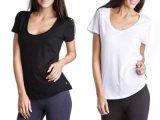 Le donne su ordinazione breve Sleevee si distendono la maglietta del cotone della paletta (A483)