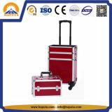 赤い美容院のアルミニウム構成の装飾的なトロリー箱(HB-3320)