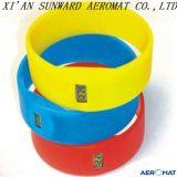 Canbe de superfície macio comprimido no Wristband do bracelete da borracha de silicone altamente nas dimensões da tolerância da força e do mínimo de rasgo (10+-10+-3mm)