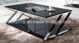 Base do aço inoxidável e tabela de chá da mesa de centro do vidro Tempered