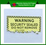 Empfindlicher Kennsatz/Qualitäts-kundenspezifischer selbstklebender entfernbarer warnender Eierschalen-Kennsatz