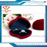Caja barata del anillo de Folcked de la joyería de la caja de joyería de la boda del terciopelo