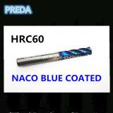 Blaue überzogene Enden-Tausendstel des Karbid-HRC60 für die maschinelle Bearbeitung des hohen Härte-Stahls