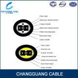 Arquear-Tipo de fibra óptica de interior cable de Gjxfha del cable de la alta calidad de gota con 2 cintas paralelas de FRP y del Apl para el conducto