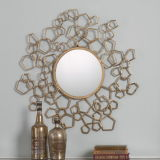 Specchio decorativo del metallo dell'oro della parete rotonda creativa del blocco per grafici