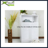 White 3 Layer Wooden Shutter Door Shoes Gabinete (com compartimento)