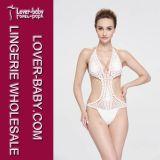 백색 형식 여자 크로셰 뜨개질 수영복 Monokini (L32569)
