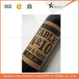 Стикер стеклянной бутылки красного вина печатание слипчивого ярлыка формы Customi