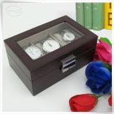 Caixa de exposição Handmade do relógio do couro da exposição de veludo luxuoso